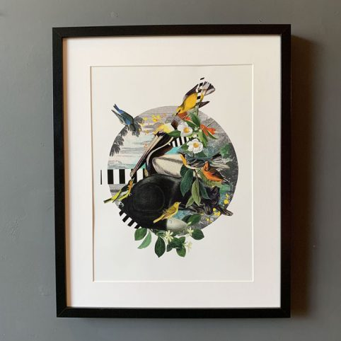 Pelican and black fox framed print purchase onlien with free P&P on all orders over £20