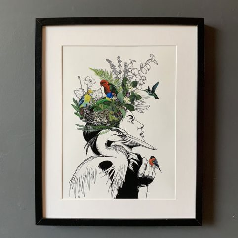 Birds Nest Lady Framed Print