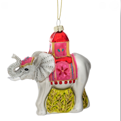 Glitter Elephant Christmas Bauble - Buy Online UK