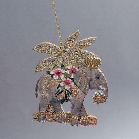 Elephant Wood Christmas Decoration - Buy Online UK