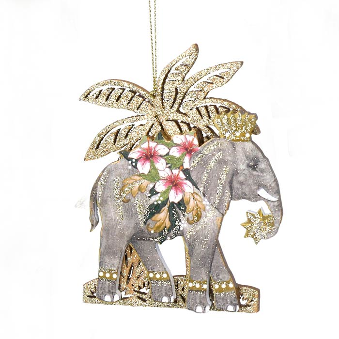 Elephant Wooden Tree Decoration Gisela Graham - Buy Online UK