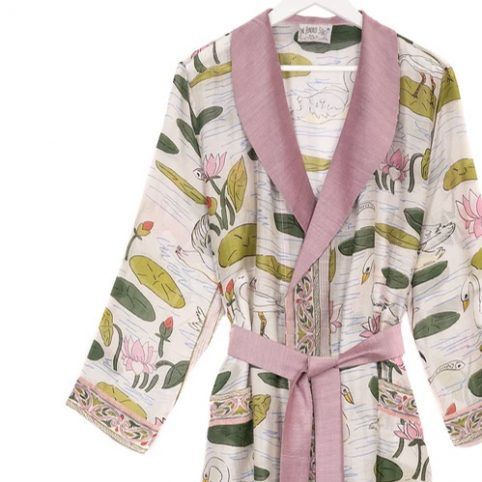 One Hundred Stars Pink Swan Dressing Gown - Buy Online UK