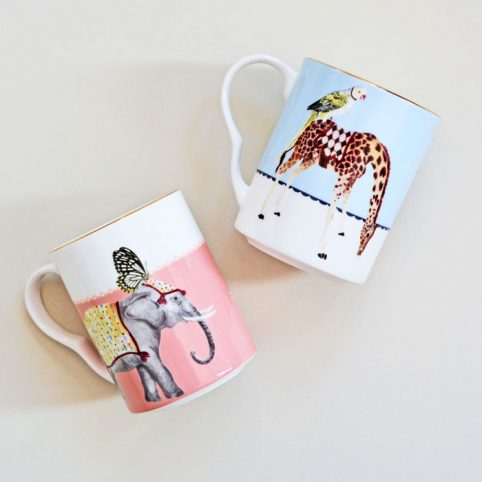 Giraffe & Elephant Set of 2 Yvonne Ellen Mugs - Buy Online UK