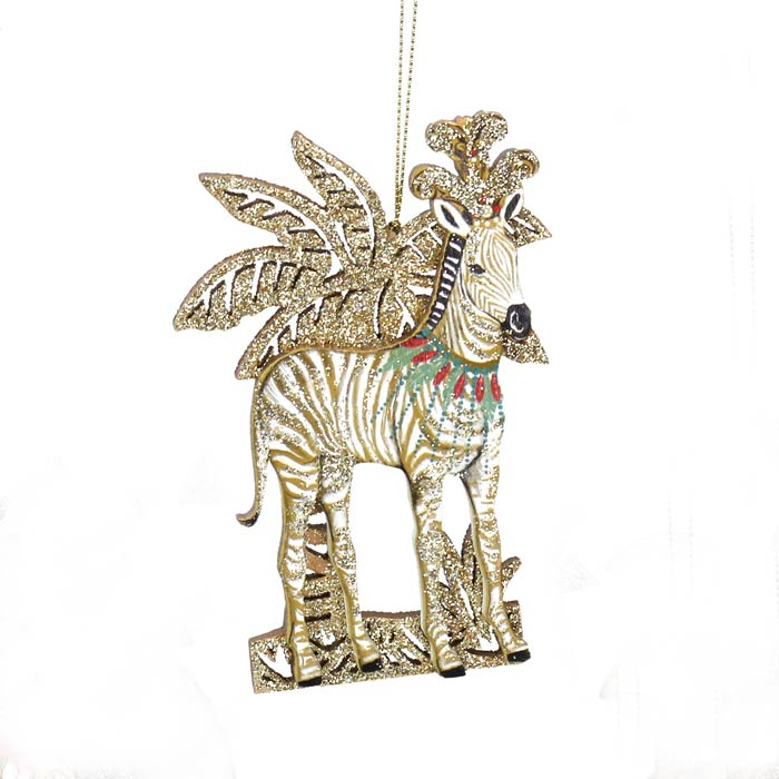 Gisela Graham Zebra Christmas Wooden Ornament - Buy Online UK