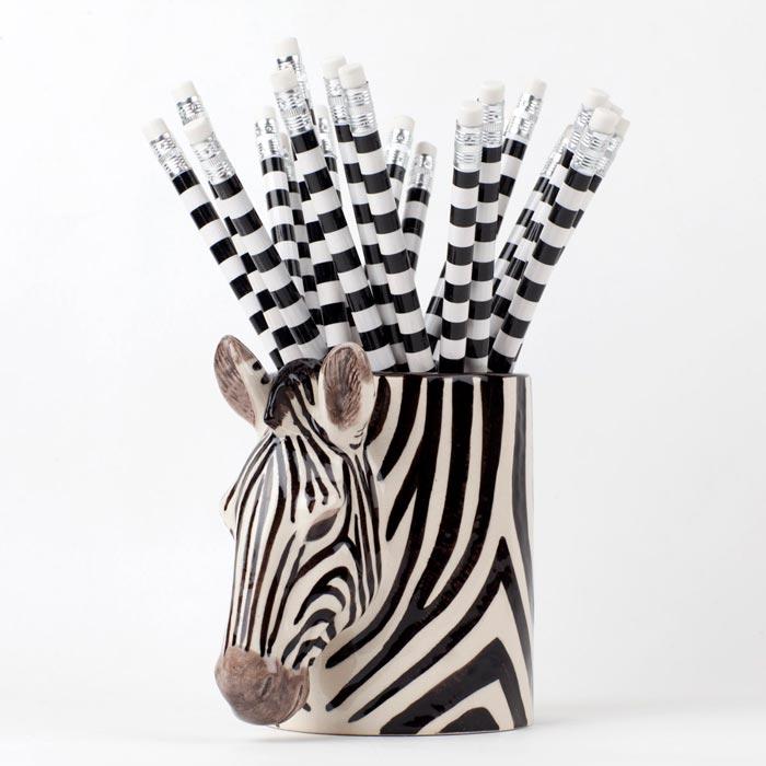 Quail Ceramics Pen Pot Zebra