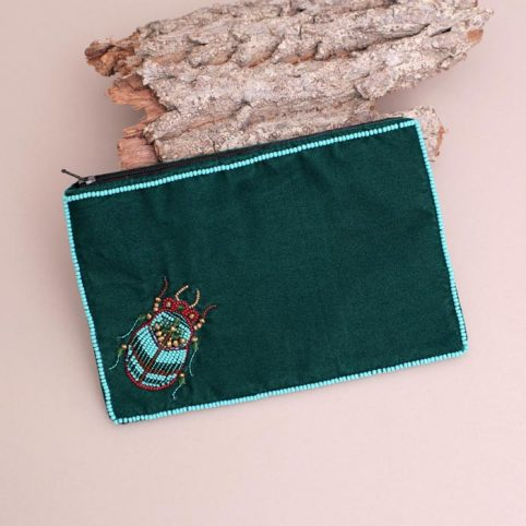 Beetle Velvet Green Purse - Buy Online UK