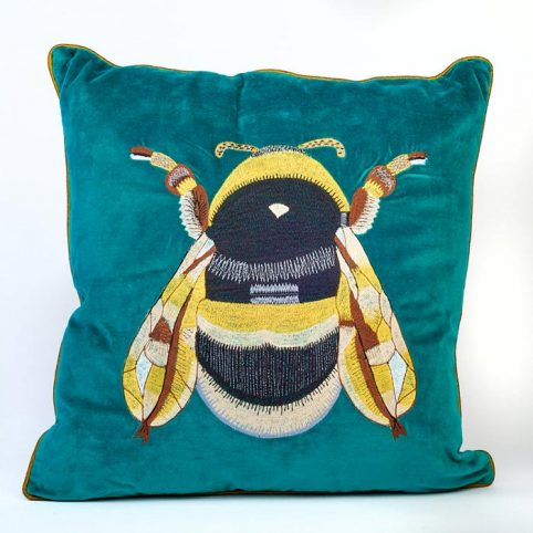 Blue Velvet Bee Cushion - Buy online UK