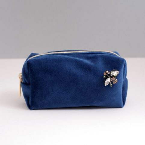 Sixton Small Make Up Bag - Blue Velvet - Buy Online UK