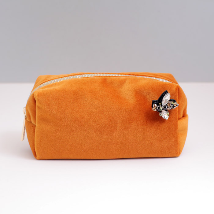 Sixton Orange Velvet Make Up Bag - Buy Online UK