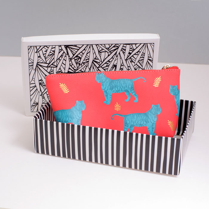 Tiger Print Faux Leather Cosmetic Bag