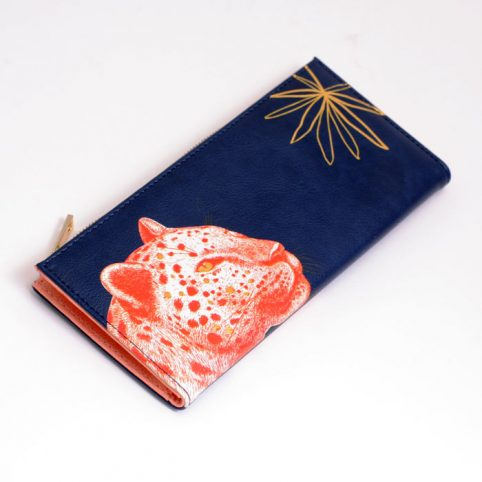 Disaster Designs Navy Faux Leather Wallet With Leopard Illustration - Buy Online UK