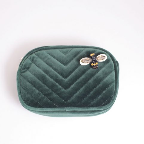 Quilted Velvet Make Up Bag - Buy Online UK