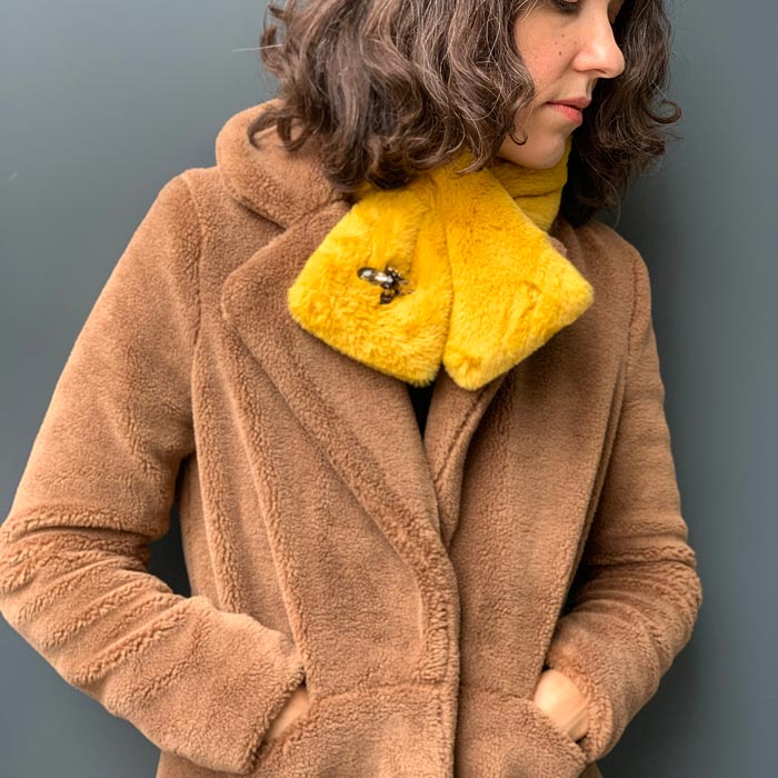 Yellow Faux Fur Scarf - Buy Online UK