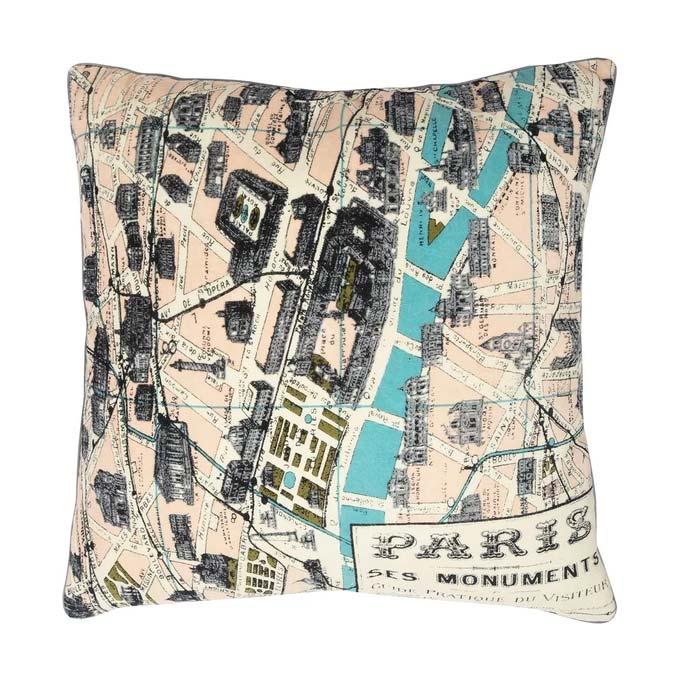 Paris Map Print Cushion - Buy Online UK