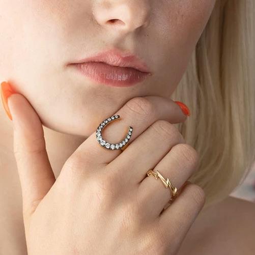Black Horseshoe Ring - Buy Online UK