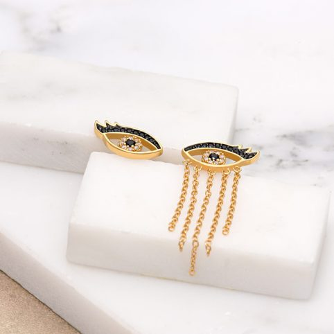Scream Pretty Gold Eyes Earrings - Buy Online UK