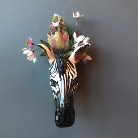 Ceramic Zebra Wall Vase - Buy Online UK