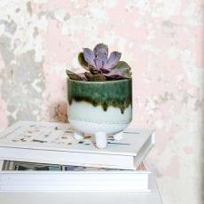Green/White Glazed Small Planter - Buy Online UK