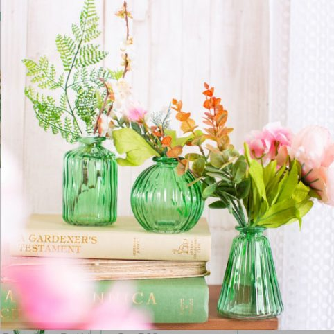 Set of 3 Green Glass Bud Vases Sass and Belle - Buy Online UK