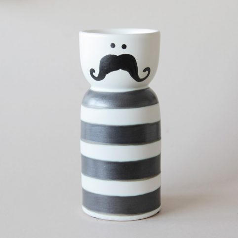 Mustache Vase Black and White - Buy Online UK