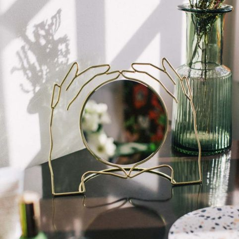 Gold Table Mirror -Hands Design Buy Online UK