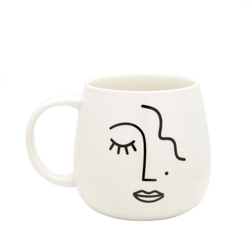 Abstract Face White Porcelain Mug - Buy Online UK