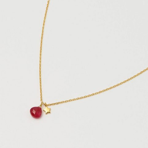 Ruby Gemstone and Star Necklace - Buy Online UK