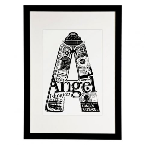 Angel Print in a black frame from Lucy Loves This - Buy online with free UK delivery