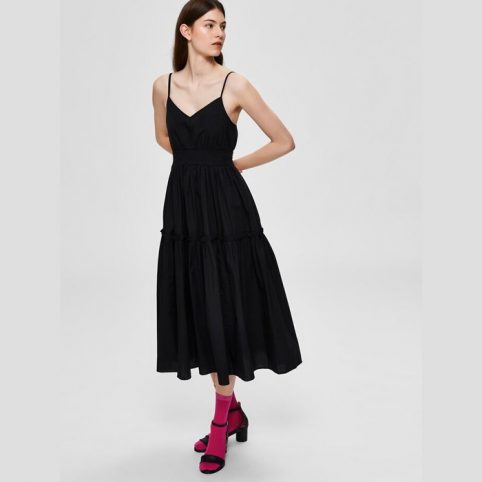 Black Strap Midi Dress - Buy Online UK
