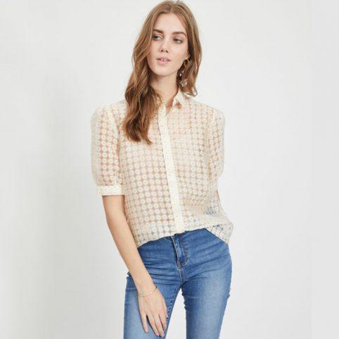 Vila White floral short sleeved shirt