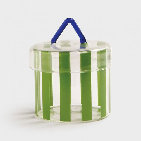 stripe glass pot with lid - free UK delivery when purchase online