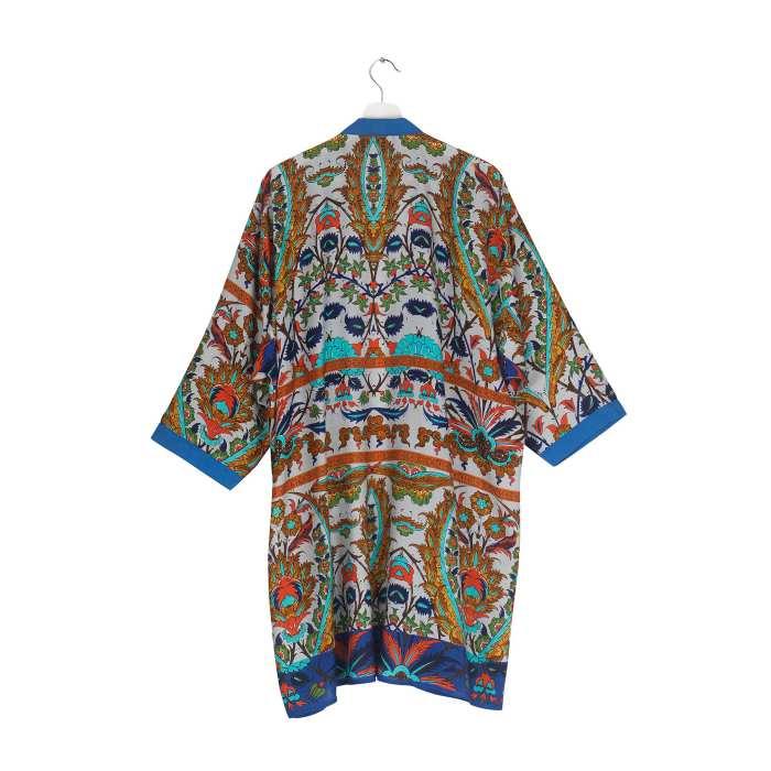 One Hundred Stars Decadent Blue Collar Kimono