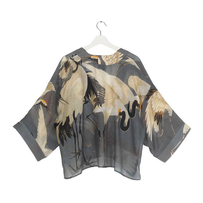 One Hundred Stars Stork Slate Grey Kimono