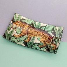 Glass Rectangular Trinket Dish Cheetah - Buy Online UK