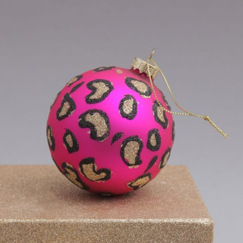 Leopard Print Bauble In Pink - Buy Online UK