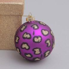 Leopard print bauble in purple - for sale online UK