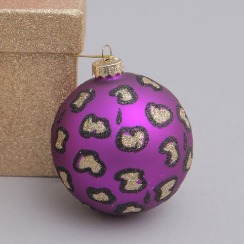 Leopard print bauble in purple - for sale online UK