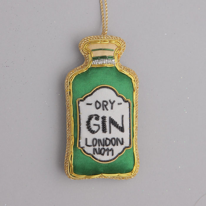 Embroidered Gin Christmas Decoration - Buy Online UK