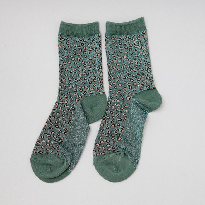 Sixton Green Lurex Sock with Cheetah Print - Buy Online UK