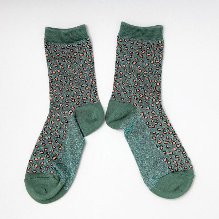 Green Lurex Cheetah Print Socks - Buy Online UK