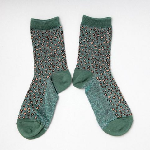 Green Lurex Cheetah Print Socks - Buy Online UK
