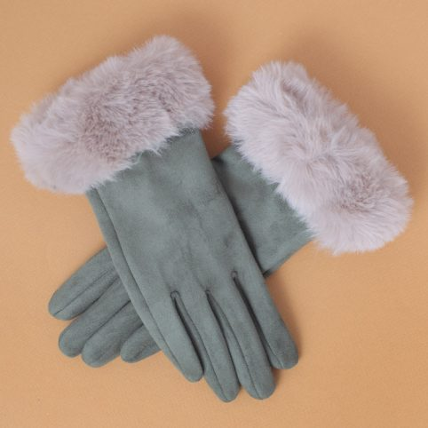 Powder Faux Suede Gloves - Fur Cuff