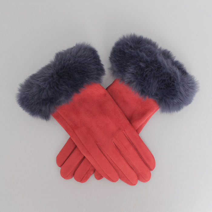 Powder Faux Suede Gloves - Rust