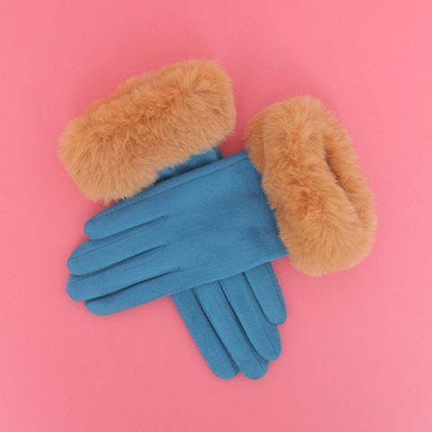 Powder Faux Suede Gloves - Bettina