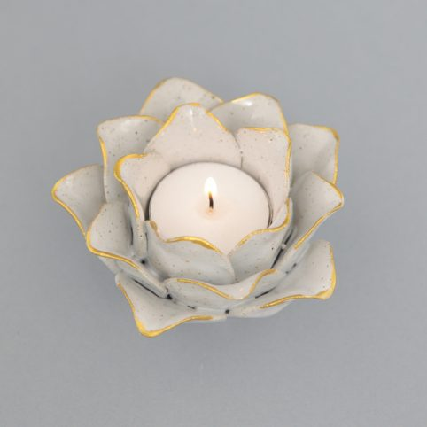 Lotus Tealight Holder White - Buy Online UK