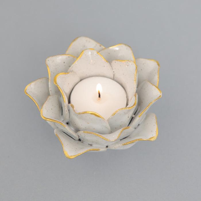 Lotus Tealight Holder White - Buy Online UK