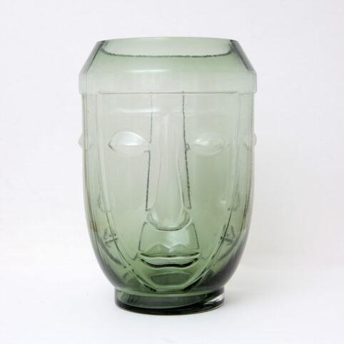 Mcgowan & Rutherford Green Glass Deco Face Vase