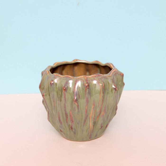 Green Textured Ceramic Plant Pot - Buy online UK