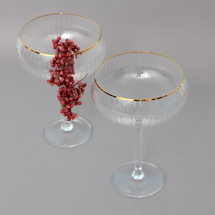 Gold Rimmed Champagne Coupe