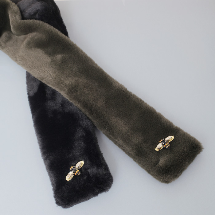 Black Faux Fur Scarf - Buy Online UK